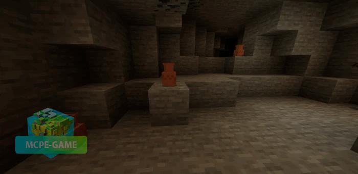 Вазы с предметами из мода Cave Update для Майнкрафт ПЕ