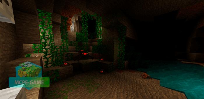 Подземные джунгли из мода Cave Update для Майнкрафт ПЕ