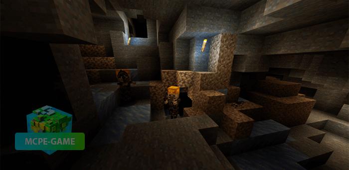 Ледяные шахты из мода Cave Update для Майнкрафт ПЕ