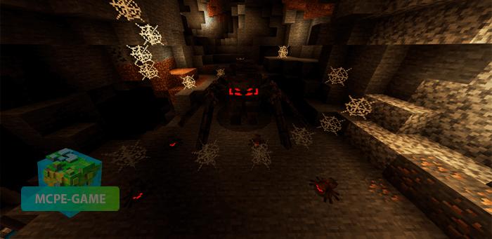 Матка пауков из мода Cave Update для Майнкрафт ПЕ