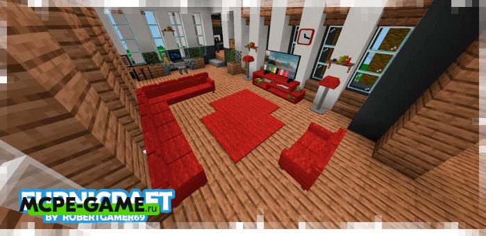 Новая мебель и декор их обновления мода Furnicraft на Майнкрафт ПЕ