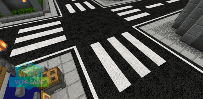 Buildings with new blocks from the Modern Blocks mod for Minecraft PE