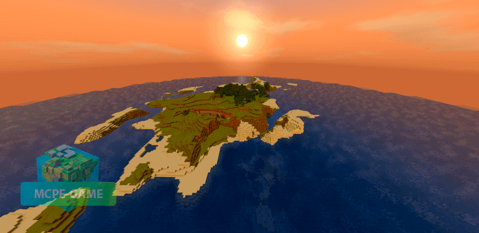 Сид на большой остров с ущельем для Minecraft PE