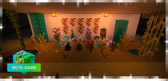 Растения из осеннего текстурпака на Майнкрафт ПЕ