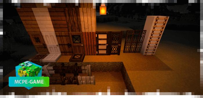 двери и заборы из осеннего текстурпака на Майнкрафт ПЕ