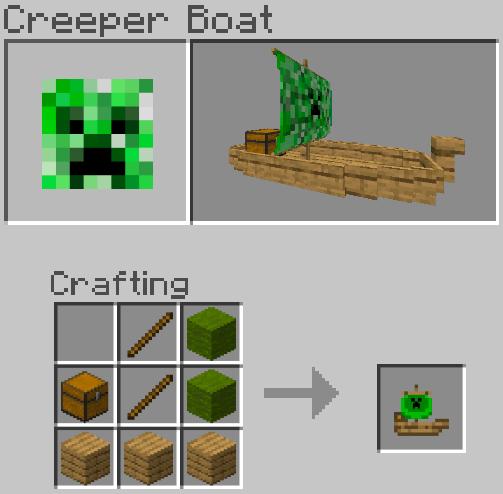 Рецепт крафта лодки с парусом Крипера