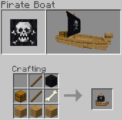 Рецепт крафта лодки с пиратским парусом