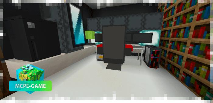 Компьютер из мода на мебель Loled Decoration на Майнкрафт ПЕ
