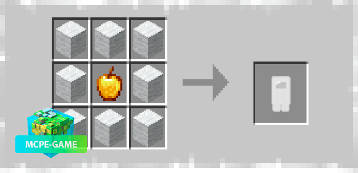 Costume Crafting Recipe from Among Us mod for Minecraft PE