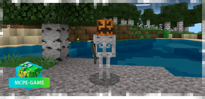 Тыквенный скелет из мода на Хеллоуин на Майнкрафт ПЕ