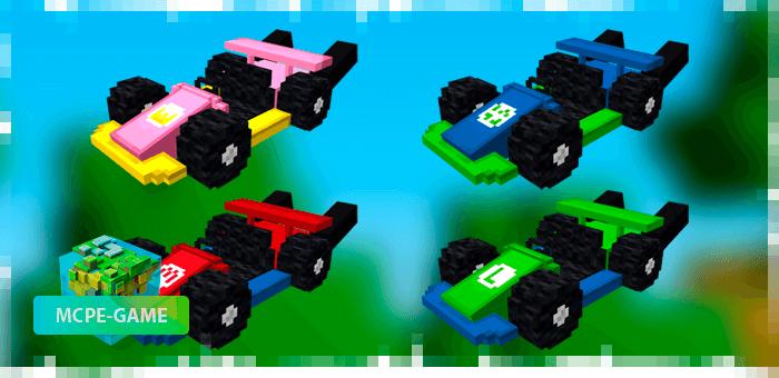 4 вида спортивных картов из мода Mario Kart