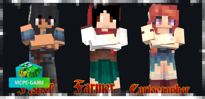 Women with professions from the Happy Villagers mod in Minecraft PE