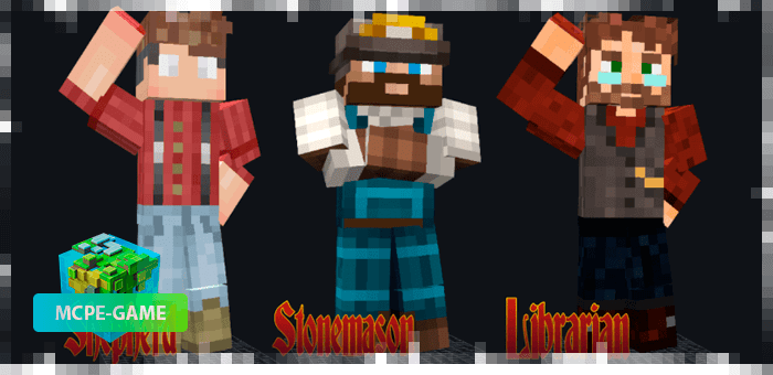 Men with professions from the Happy Villagers mod on Minecraft PE