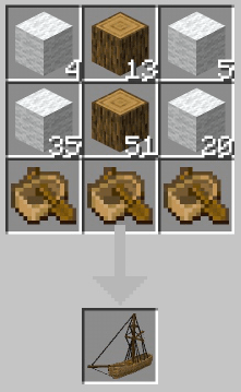 Recipe for crafting a large sailing ship in Minecraft PE