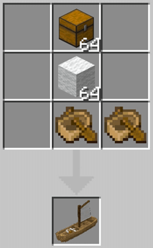 Recipe for crafting a small sailing ship in Minecraft PE
