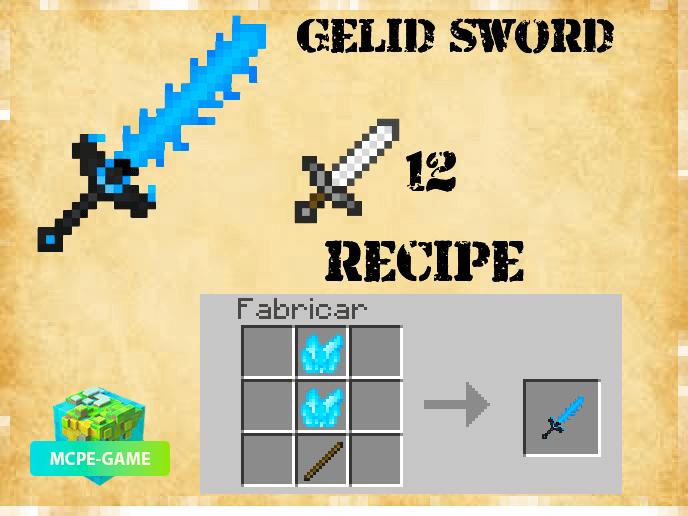 Ледяной меч из мода Карманная Мифология на Майнкрафт ПЕ