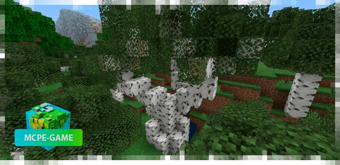 Новые березы из мода на реалистичные деревья Aesthetic Trees в Minecraft PE