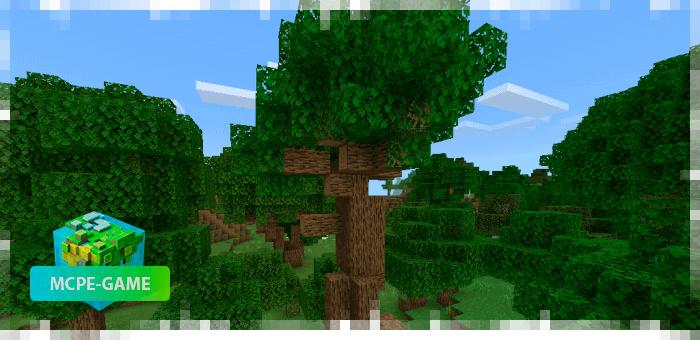 Новый дуб из мода на реалистичные деревья Aesthetic Trees в Minecraft PE