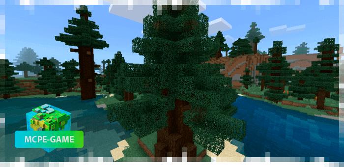 Новые ели из мода на реалистичные деревья Aesthetic Trees в Minecraft PE