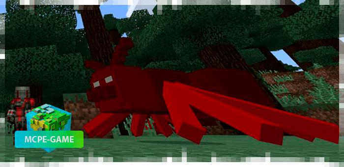 Красный муравей из мода Ant Man на Minecraft PE