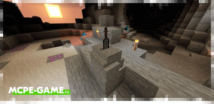 Меч в камне из мода Cave Enhancements на Майнкрафт ПЕ