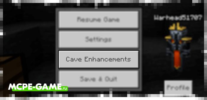 Кнопка с гайдом по моду Cave Enhancements на Майнкрафт ПЕ