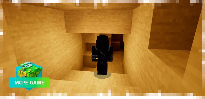 Светящийся в руке факел из мода Cave Enhancements на Майнкрафт ПЕ