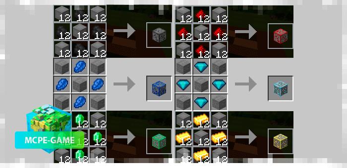 Ore block crafting recipes in Minecraft PE