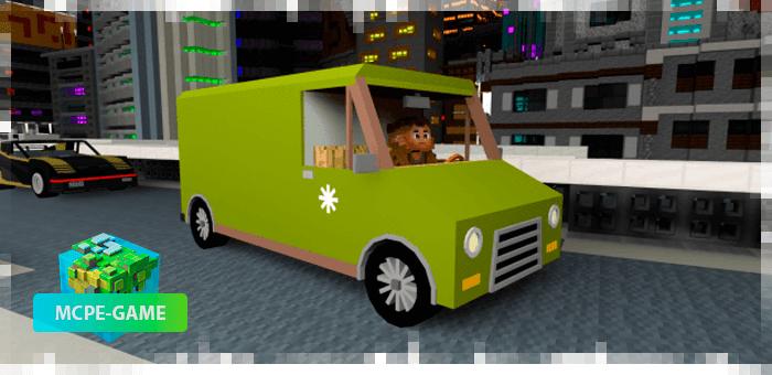 Фургон из мода Cyberpunk 2077 на Майнкрафт ПЕ