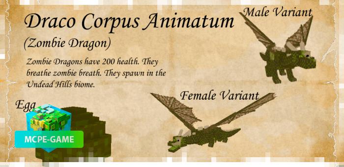 Оживший дракон из мода Dragon Mounts 2 на Майнкрафт ПЕ