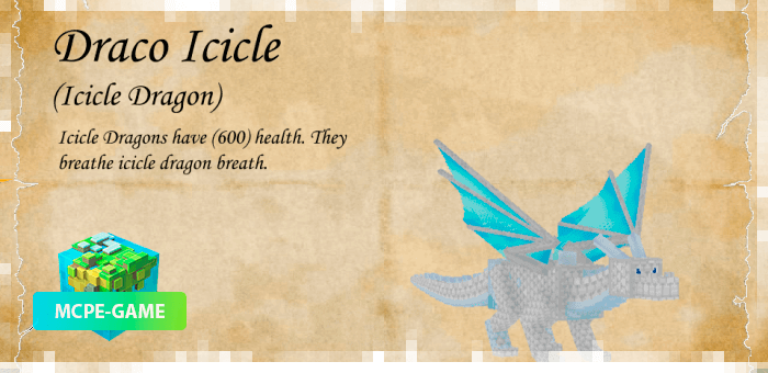 Дракон Льдинка из мода Dragon Mounts 2 на Майнкрафт ПЕ