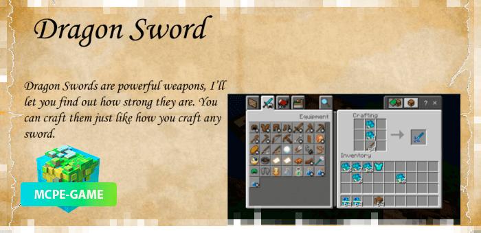 Рецепт крафта нового меча из мода Dragon Mounts 2 на Майнкрафт ПЕ