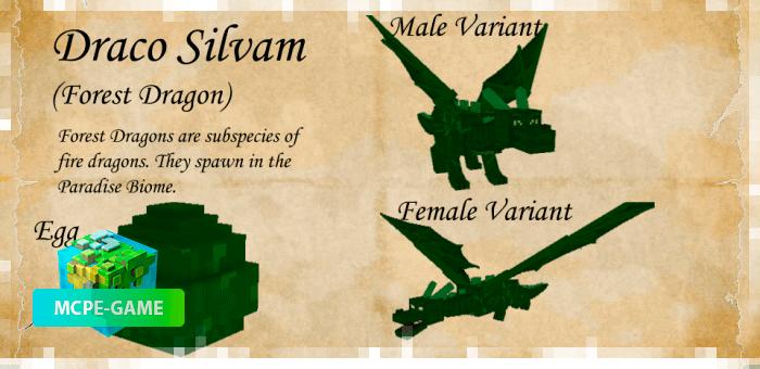 Дракон Сильвам из мода Dragon Mounts 2 на Майнкрафт ПЕ