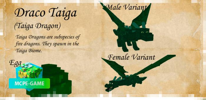 Дракон Тайга из мода Dragon Mounts 2 на Майнкрафт ПЕ
