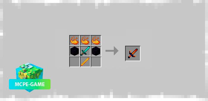 Меч огня из мода Elemental Swords на Майнкрафт ПЕ