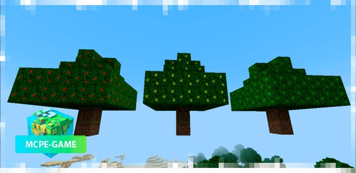 Яблоня из мода на фруктовые деревья MoreTrees на Майнкрафт ПЕ