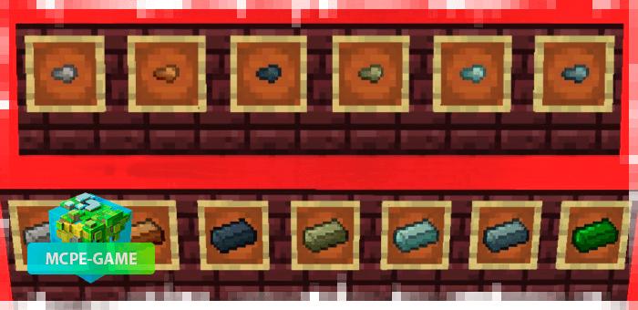 Новые слитки металла и самородки из мода Nether Ores для Minecraft PE