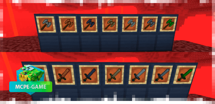 Battle Axes and Swords from Nether Ores for Minecraft PE