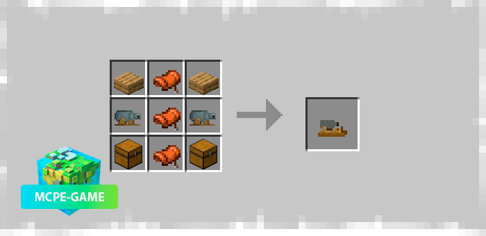 Recipes for crafting a new saddle from the Prehistoric Rift mod in Minecraft PE