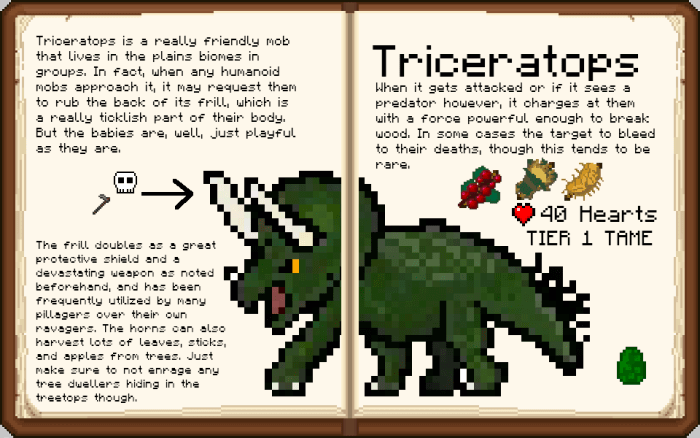 Triceratops from the Prehistoric Rift mod in Minecraft PE