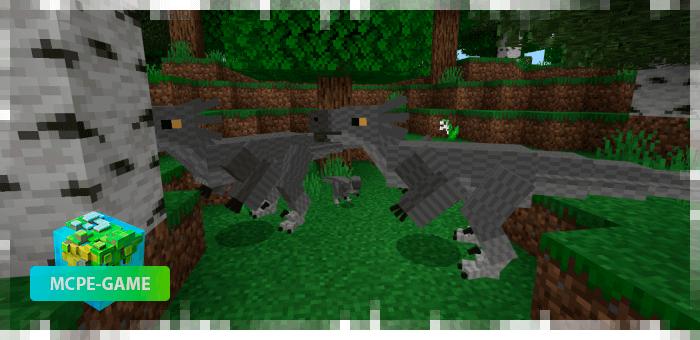 Jutaraptors from the Prehistoric Rift mod in Minecraft PE
