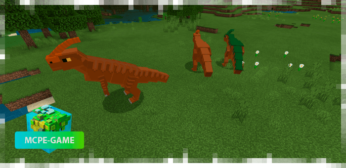 Parasaurolophs from the Prehistoric Rift mod in Minecraft PE