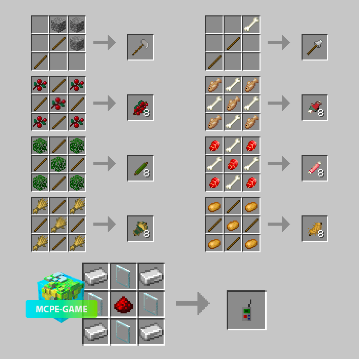 Recipes for crafting lures and new items from the Prehistoric Rift mod in Minecraft PE
