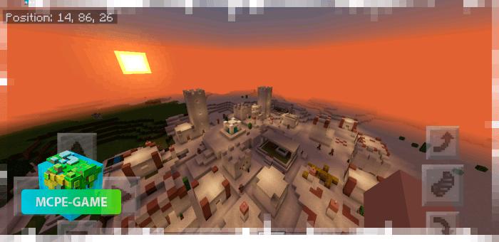 Сид на деревню в пустыне с храмом и аванпостом