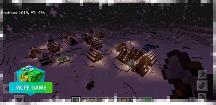 Снежный сид с двумя деревнями и пещерой