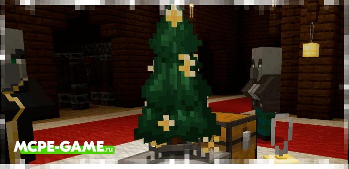 Примеры украшенной новогодней елки из мода Vanilla Holiday для Minecraft PE