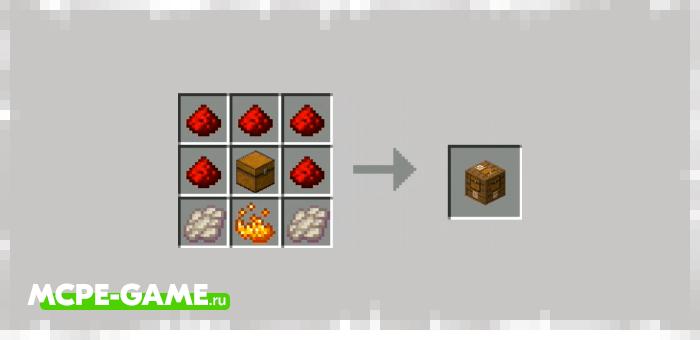 Рецепт крафта сундука-питомца из мода Electrical Chest на Minecraft PE