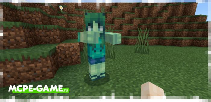 Девушка-зомби из мода Improved Zombies на Майнкрафт ПЕ