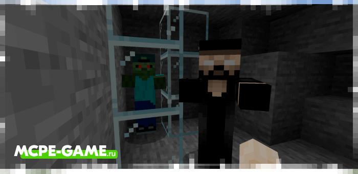 Зомби Херобрин из мода Improved Zombies на Майнкрафт ПЕ