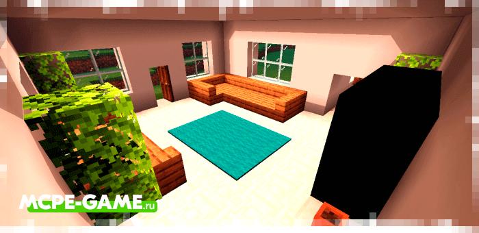 Загородный дом из мода Instant Houses на Minecraft